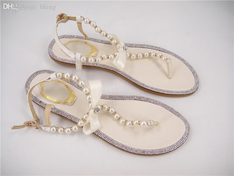 Wholesale Free Shopping Rhinestones Bridal Sandals Flat Wedding Shoes Ivory Pearls Beaded Flip Flops Pink Lilac Size 4 11 Red Wedges Summer