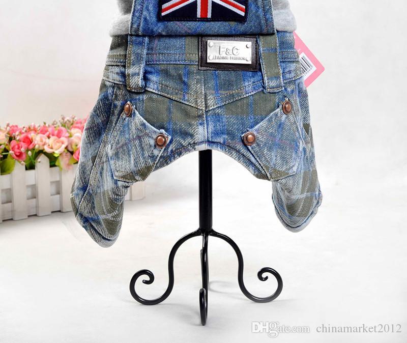 Nuovo stile di trasporto libero cucciolo di cane cucciolo caldo autunno inverno tute pagliaccetti Inghilterra stile jean fleece all'interno