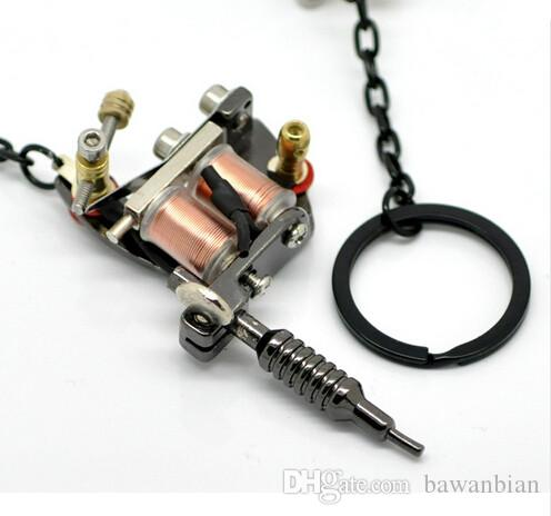 "Gun Metal Mini Tattoo Machine With Key Chains & Key Ring Tattoo Supplies 15cmx4cm5 7/8""x1 5/8"" Wholesale"