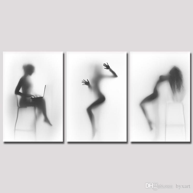 2018 Black And White Wall Art , Sexy Nude Women Painting Picture Print On  Canvas Naked Girl In The Shower Artwork For Bedroom Wall From Byxart, ...