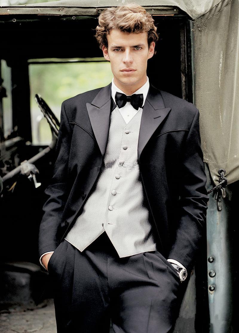 Fashion Black Groom Tuxedos Morning Style Silver Vest Peak Lapel ...