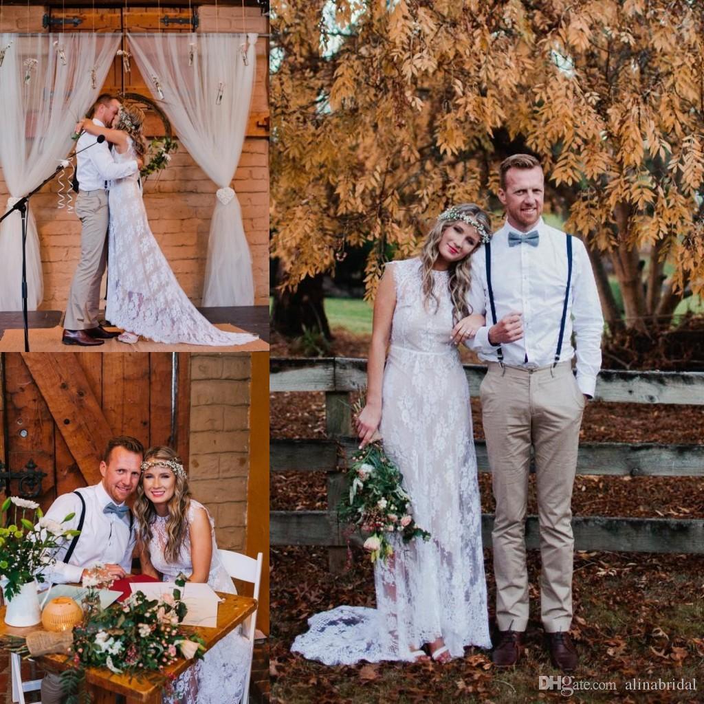 Robe De Mariage Bohemia Vestidos de novia Una línea Tren de barrido Drapeado Encaje blanco Champán Barato 2016 Summer Beach Vestidos de Novia