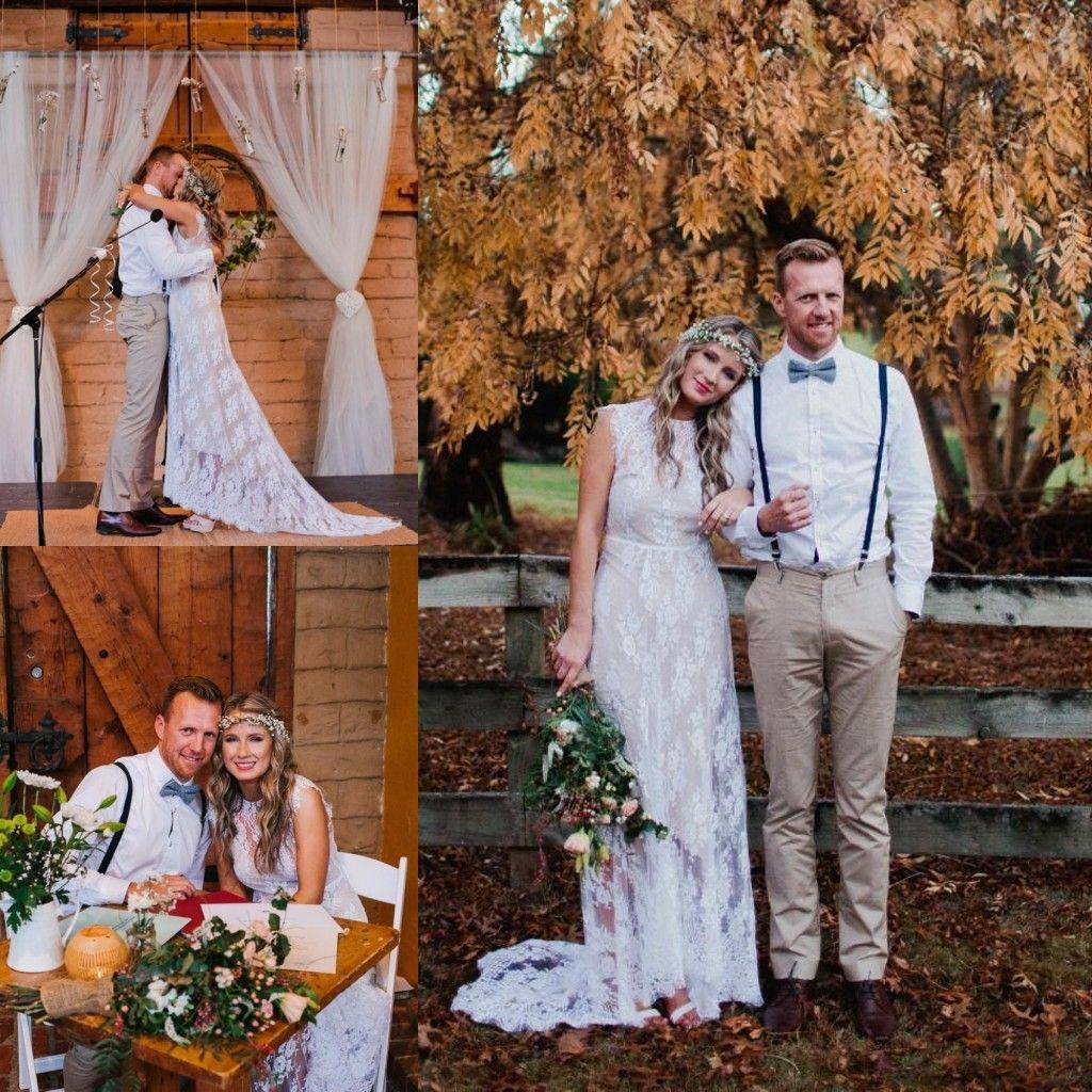 Robe De Mariage Vestidos De Casamento Bohemia A Linha Sweep trem Drapeado Branco rendas De Champanhe Barato 2016 Vestidos de Noiva de Verão Da Praia