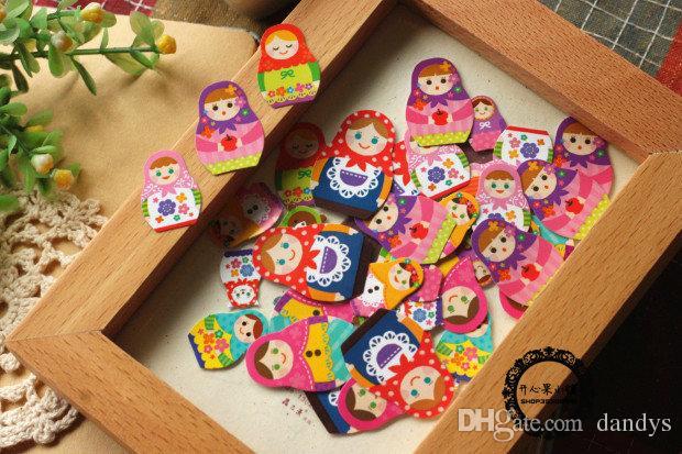 Envío gratis / Nueva etiqueta de la serie Matryoshka / Paquete de bolsa de pegatina de muñeca rusa de Japón mw / Etiqueta de decoración, 70 piezas / bolsa, dandys