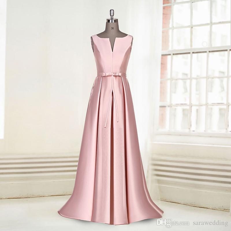 2016 Новое Линии Бато Шеи Плиссированные Длинное Пятно Вечернее Платье с Бантом vestidos de festa