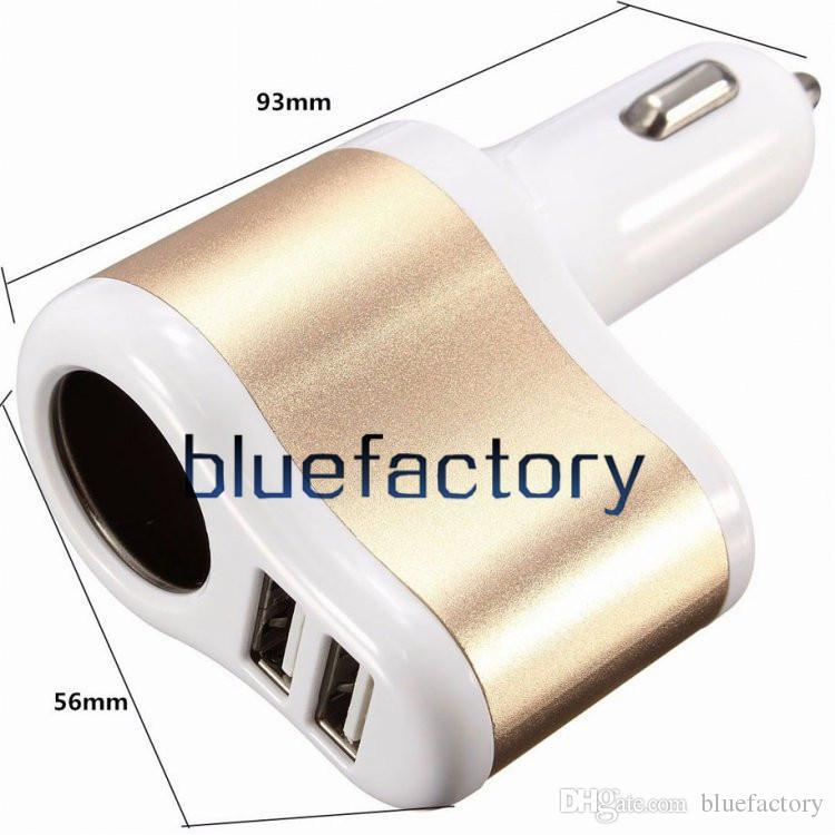 Doble puerto USB 3 en 1 Cargador de automóvil Encendedor de cigarrillos Adaptador de carga Adaptador universal para iphone 6s 5s Samsung S6 HTC Blackberry