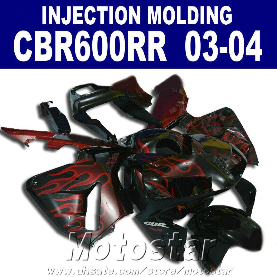 100% Enjeksiyon Kalıplama için uygun HONDA CBR 600RR kaporta 2003 2004 kırmızı alev 03 04 cbr600rr özel kaporta iQGT