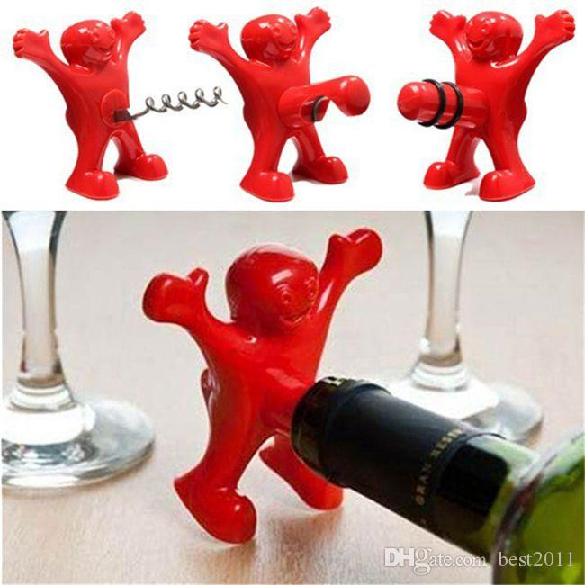 New Kitchen Bar Red Fun Happy Man Wine Beer Soda Bottle Openers Multifunction Wine Openers Bottle Novelty Opener Stopper