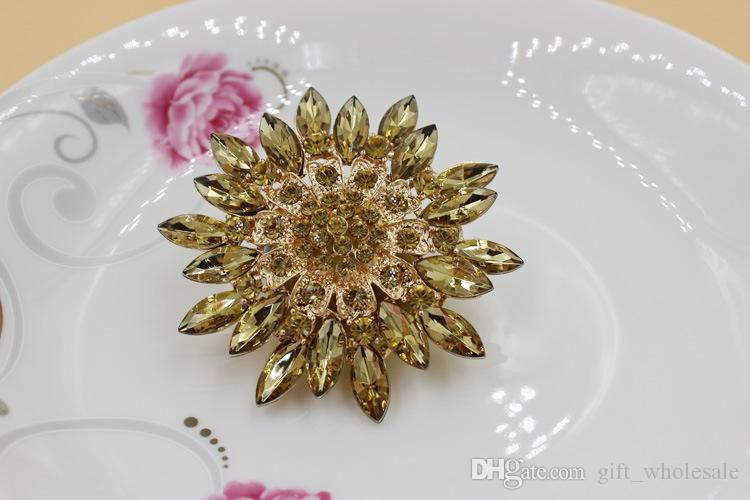 Plated Colorful Rhinestone Crystal Diamante Large Starfish Flower Bouquet Brooch Pins