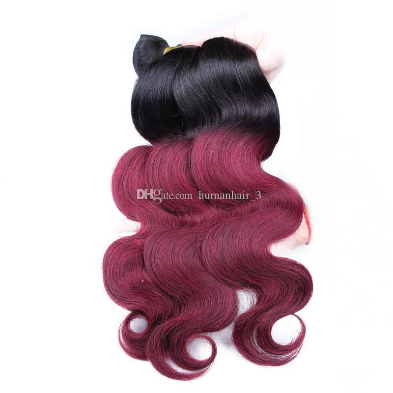 Deux tons bourgogne couleur corps vague cheveux jeune donateur 8A brésilien Ombre cheveux extensions Vierge cheveux humains armure 3 faisceaux