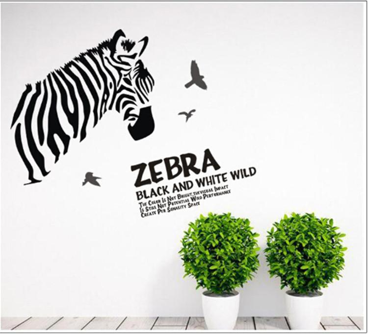 Delightful Zebra Diy Black And White Sketch Wall Stickers Home Decor Decals Christmas  Decoration Wall Art Poster 60*90cm Kitchen Wall Decals Kitchen Wall Decor  ... Part 5