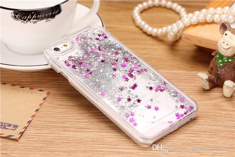 Dura del PC scintillio Bling Stars liquido dinamico cristallo copertura posteriore della cassa l'iPhone 5S 7 6 6S più Galaxy S5 S6 S7 BORDO Nota 3 4 5