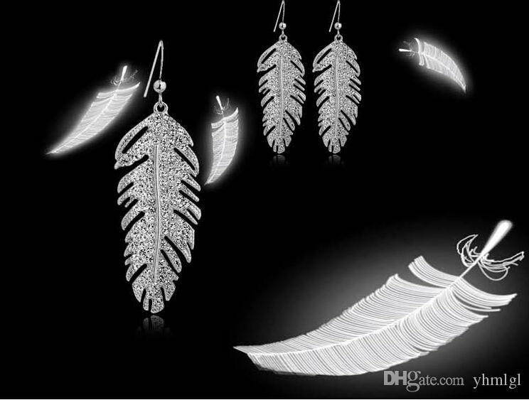 Moda venta de vacaciones de Navidad 18 k oro plateado diseño de plumas Rhinestone cristal austriaco sistemas de la joyería para las mujeres envío gratis
