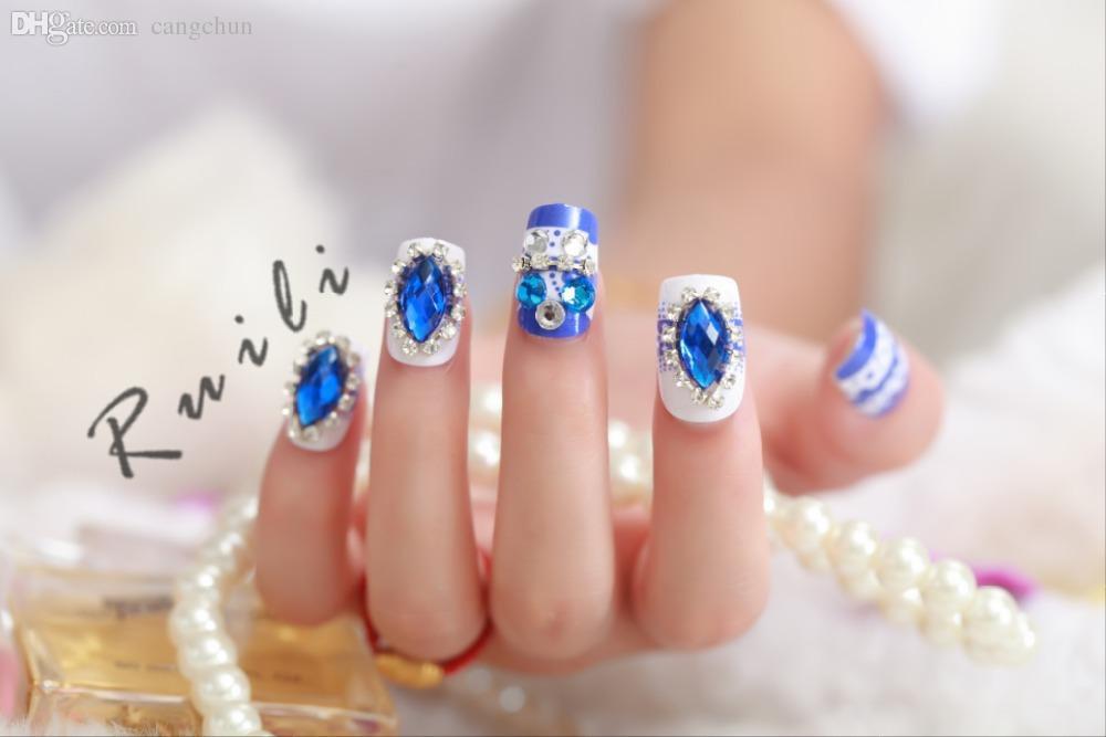 Wholesale 2015 New Arrival Blue Diamond Fake Nails Full Acrylic Nail ...