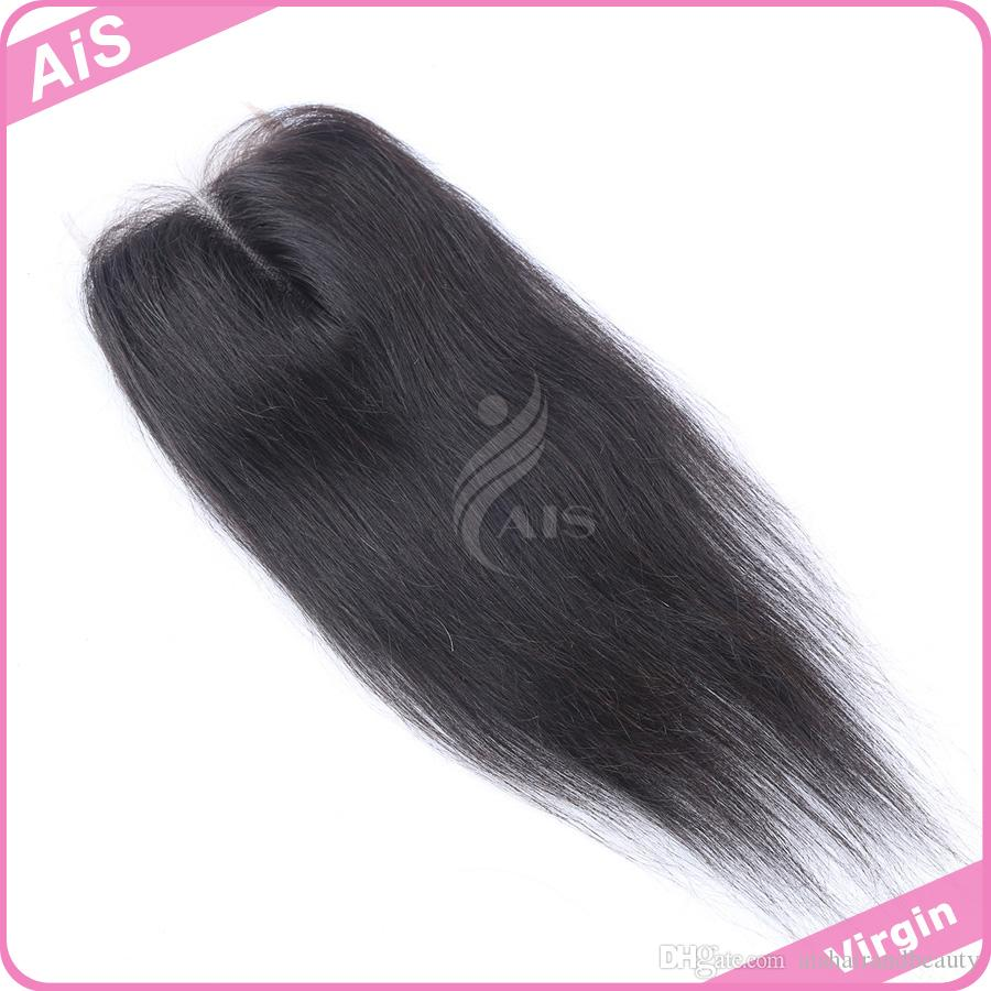 Promotion Grade 7A Lace Closure 4*4 Brazilian Hair Natural 1B Silky Straight Hair Weaves Top Closures Dyeable Hair Extensions