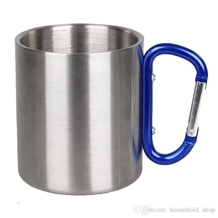 Porte-clés mousqueton boucle tasse tasse à café tasse en acier inoxydable camping en plein air camping portable café bière bière vin tasses de Noël Fabricant source