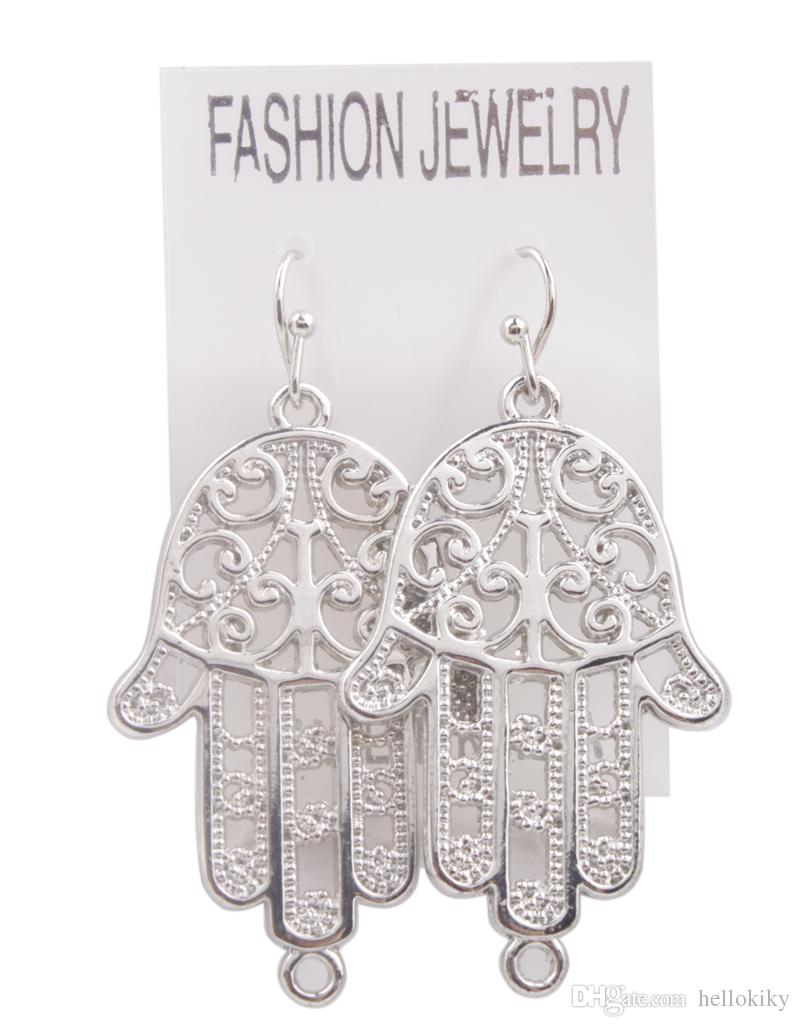 New Arrive Of Fashion alloy dangler Earring Silver Tone Hamsa Hand charm Drop Earrings