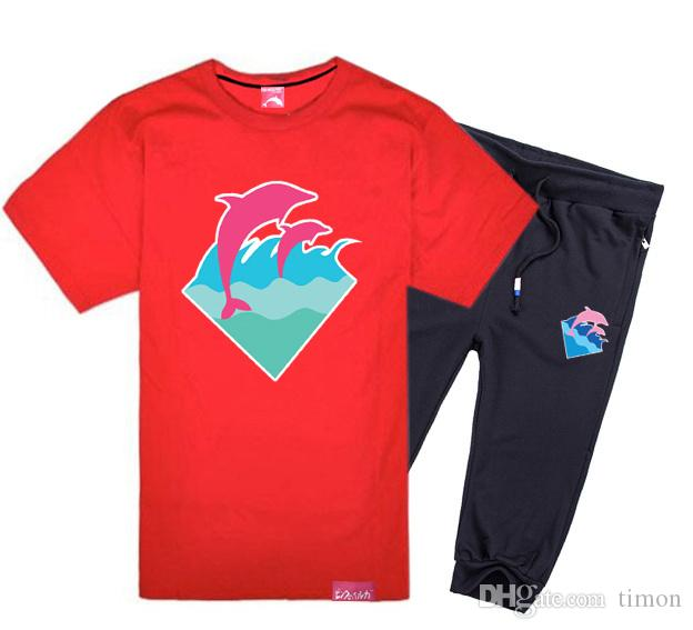 delfines de color rosa de manga corta traje pantalón camisetas de algodón conjunto breve carta O-cuello ocasional del diseño camisetas conjunto de los hombres, traje de hiphop envío libre