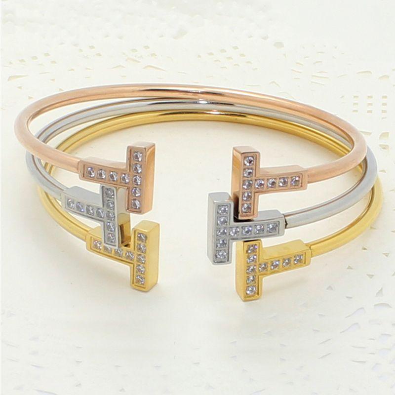 Double T Brief Zirkon Armband für Frauen Modeschmuck Eröffnung Manschette Armreifen Armbänder Gold Silber Rose Gold