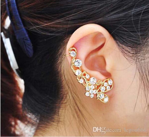 Retro Crystal Butterfly Flower Ear Cuff Stud Kolczyk Wrap Clip On Clip Clamp Nowy