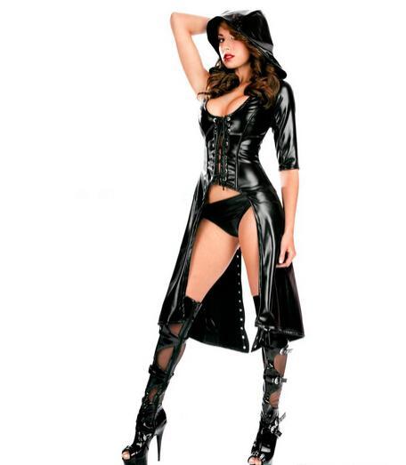 섹시한 가짜 가죽 제복 섹스 노예 본디지 구속 복장 페티쉬 하네스 롤 플레잉 드레스 성인 게임 의류 에로틱 한 의상 착용
