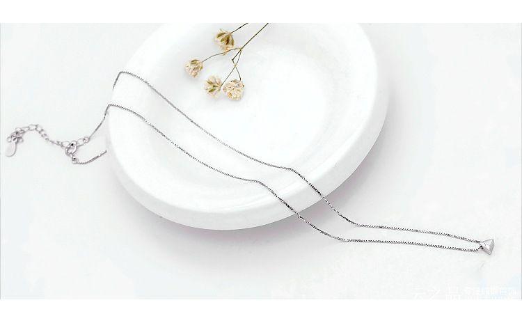 S925 стерлингового серебра ожерелье женщин треугольник шнек Корея ключицы ожерелье 10