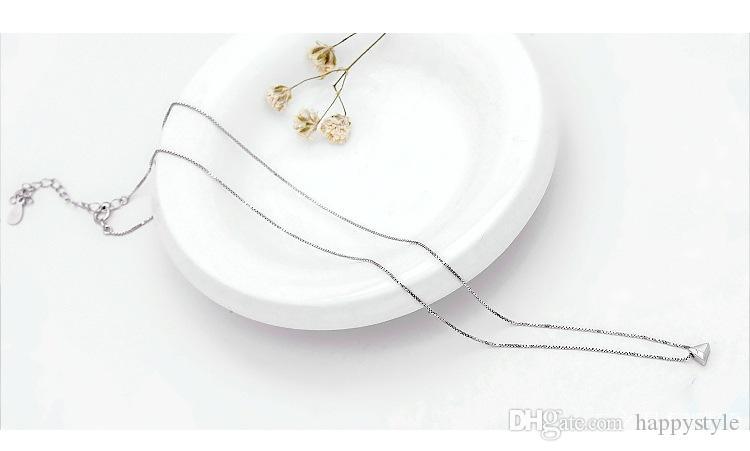 S925 Sterling Silver Necklace Mulheres triângulo trado Coreia Clavícula Colar 10