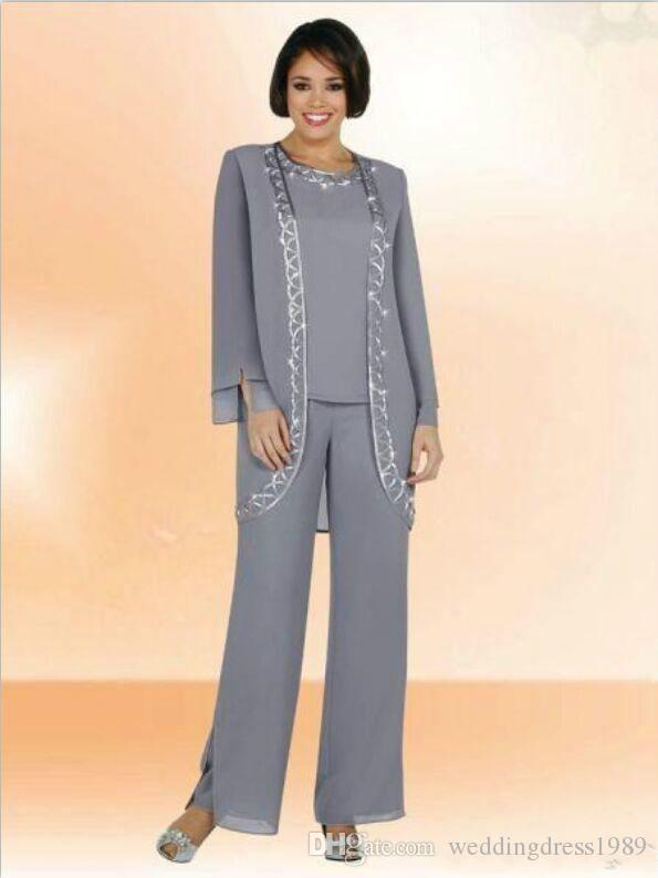 Elegante Chiffon-Dame Mother Pants Anzüge Abendkleid Langarm 2018 Mutter der Braut Kleid Hosenanzug Kleider Formal Party Brown Custom
