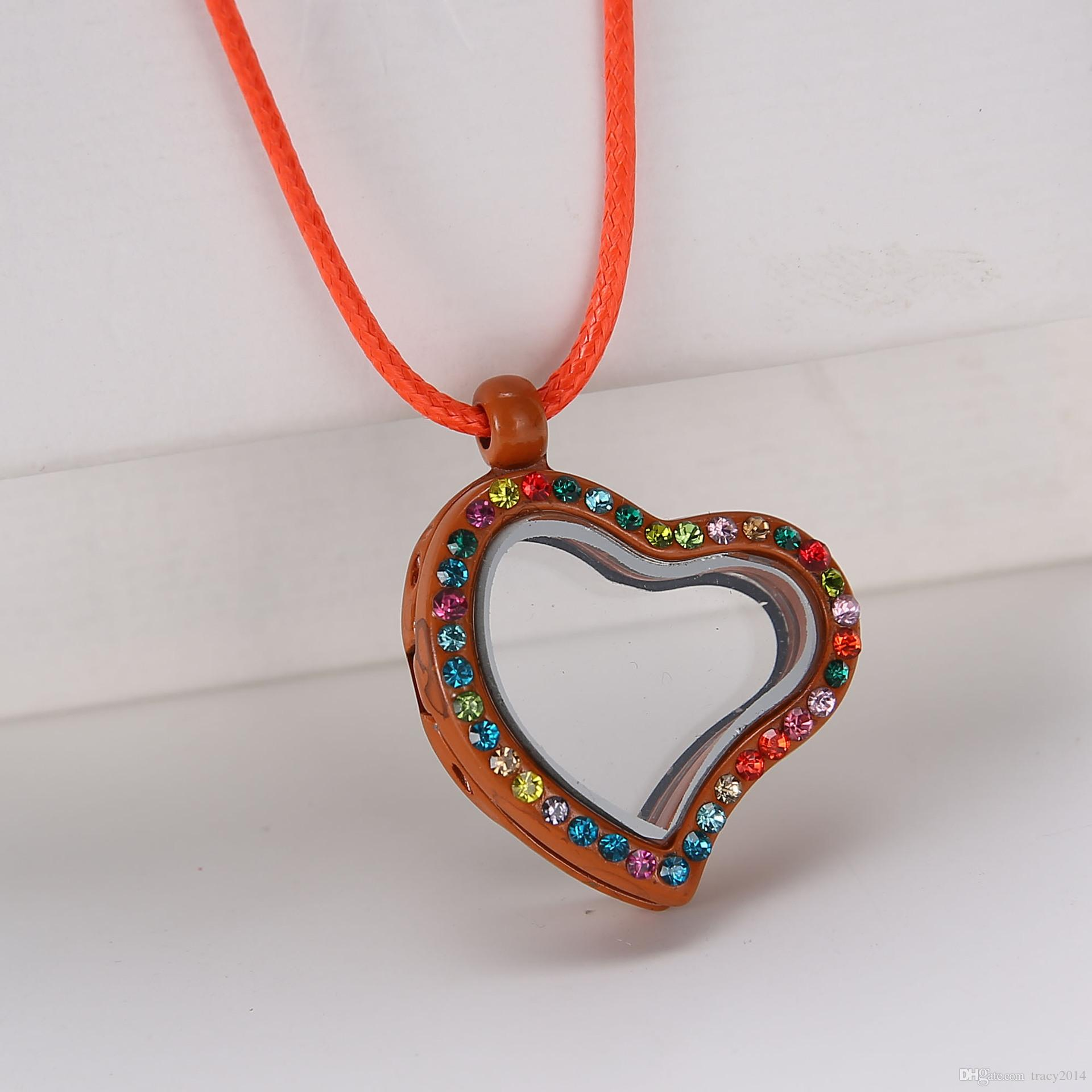 ixed Multicolor Lockets Heart Shape Crystal Floating Charm Glass Living Memory Locket Pendant 25mm included the Necklace