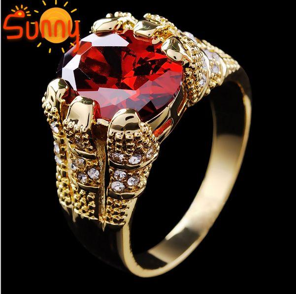 Wysokiej Jakości Biżuteria Brand New Ruby Męskie 10KT Żółty Złoto Wypełniony Pierścień Rozmiar9 / 10/11 / 12 Darmowa Wysyłka