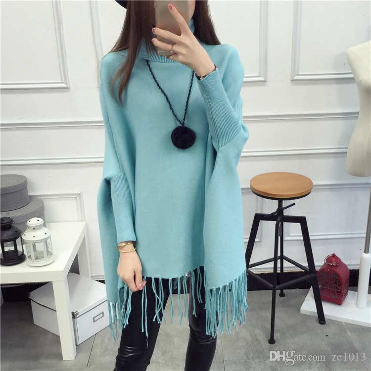 Poncho Pull Casual Tassel Pullovers Limited Women Sweater 2017 Collar Lady Jacket Long Shawl Bat Shirt Top Spring / Autumn Knit