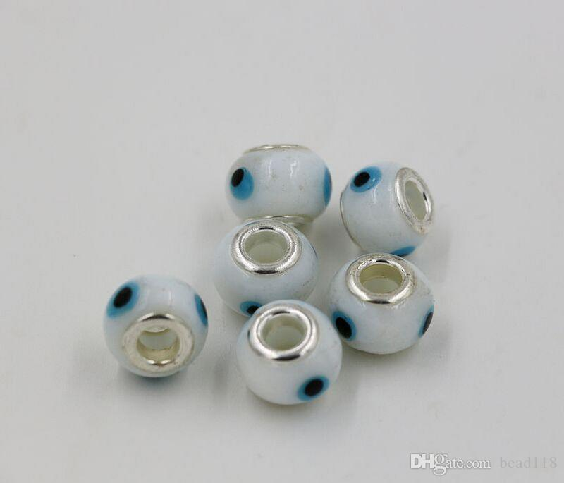 Sıcak satış ! 100 adet 14mm Nazar Murano Lampwork Renkli Sır 5mm Büyük Delik Cam Boncuk Fit Charm Bilezik DIY Takı Beyaz Renk