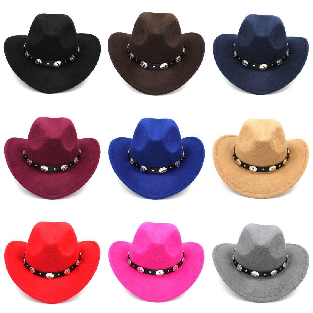 Fashion Womem Men Adult Wool Blend Western Cowboy Hat Wide Brim Cowgirl  Jazz Cap Leather Band Kangol Hats Kentucky Derby Hats From Artstyle 89b96cd36eb0