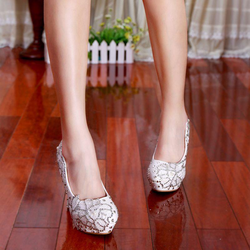 Luxury Bridal Wedding Dress Shoes White Rhinestone Flower High Heeled Diamond Lady Shoes for Lady Party Prom Evening Event