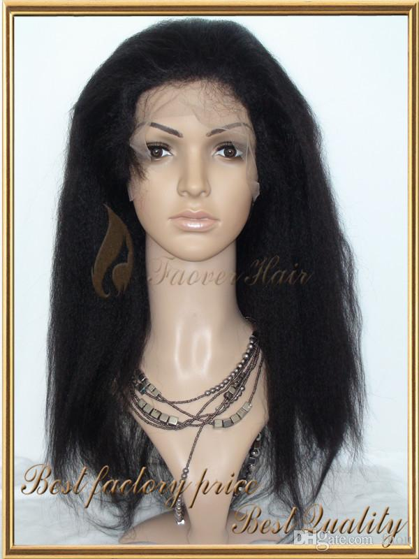 2016 1#,1b,2#,4#,Natural Color Malaysian Virgin Hair Afro Kinky Straight Coarse Yaki Full Lace wig with baby hair