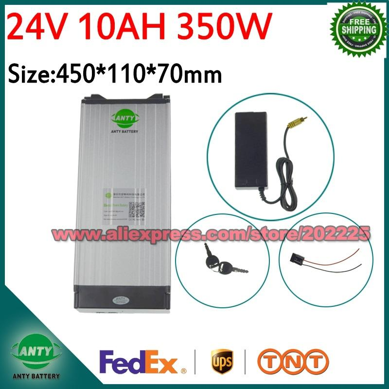 e Bike Battery 24V 10Ah 350W Lithium Electric Bike Scooter Battery 24v with  29 4V 2A Charger,15A BMS Free Shipping 24v Battery