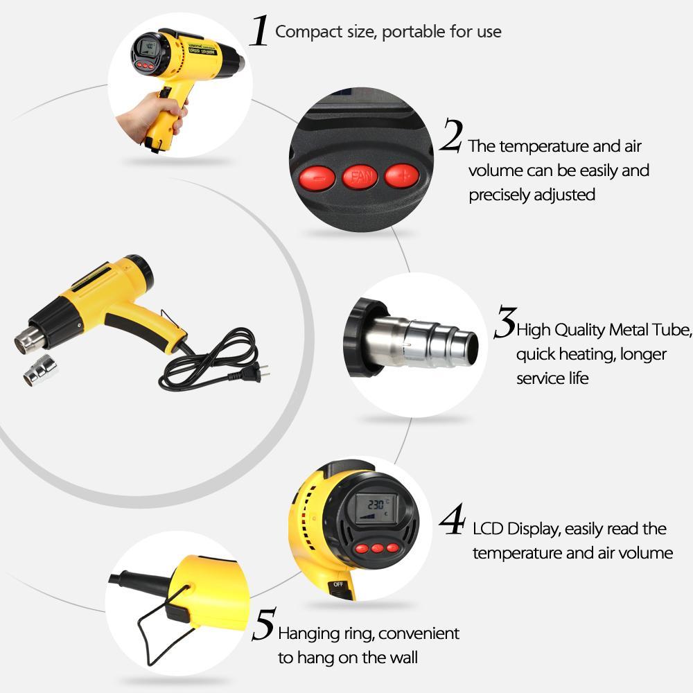 Pistola de aire caliente eléctrica de alta calidad de 1500W AC110V Pistola de calor de temperatura controlada digital Conjunto de herramientas ajustable con boquilla LODESTAR