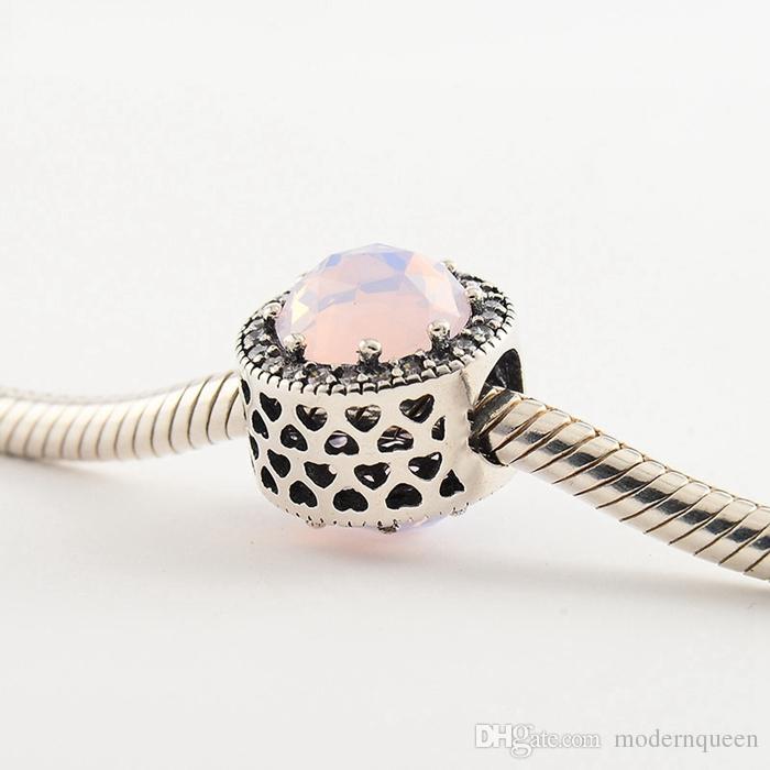 Radiant Hearts perles charms en argent sterling rose opalescent S925 convient pour bracelet style pandora livraison gratuite H8ale 791725NOP