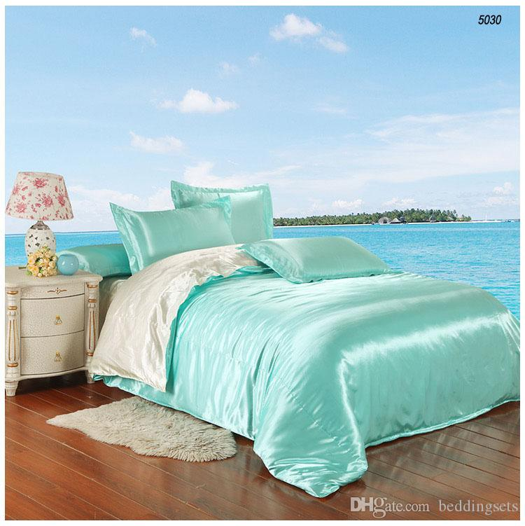 Smooth Satin Silk Bedding Sets Artificial Silk Bed Linen Silk Comforter  Bedsheet Pillowcase Pure Color Water Blue Milk White 5030 Cheap Twin  Comforter Sets ...