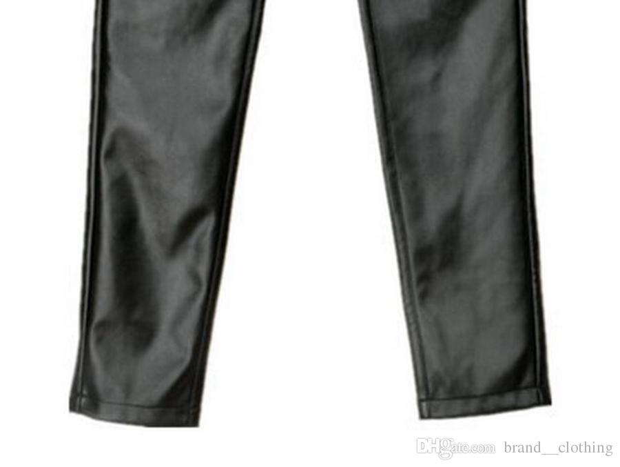 La donna dell'edizione del han contatori autentica nuova sfilata di moda invernale a vita alta caldo natica stretto pantaloni grandi cantieri in pelle elasticizzata. S - 3xl