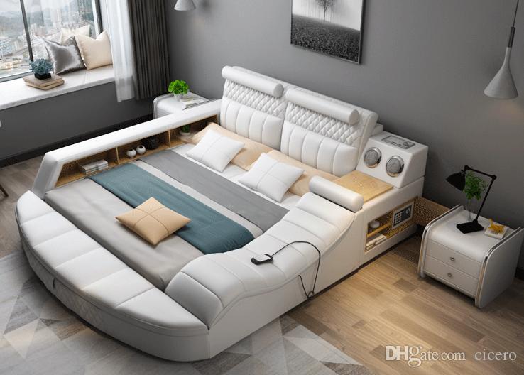 Acquista smart bed con massaggio bluetooth multifunzione tatami grande stoccaggio modern bed - Letto da massaggio ...