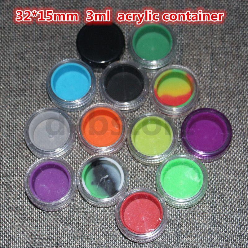 neue 3 ml acrylwachs behälter silikon topf tupfen wachs container, silikon tupfen glas glas ölbehälter mit dem freien verschiffen