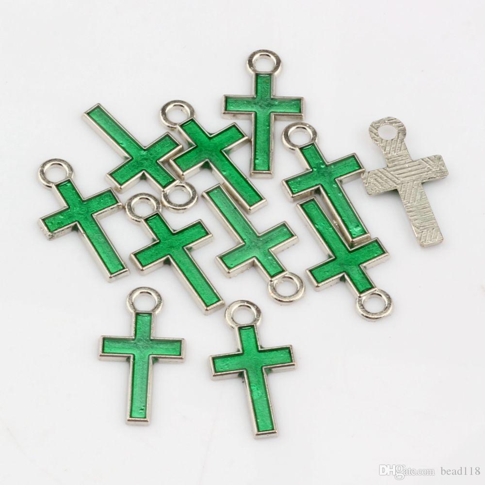 Heet ! 500 stks mix kleur stijlvolle mooie kleine emaille kruislegering charms 8mm * 15mm diy sieraden