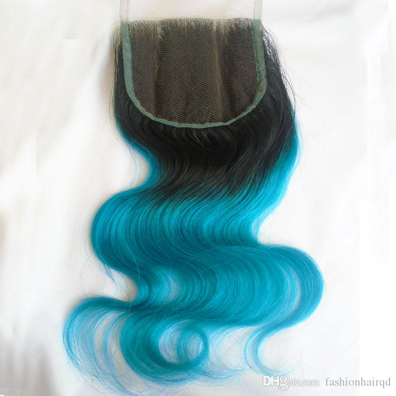 Ombre Peruvian Body Wave Human Hair Weaves With Lace Closure T1b Blue Two Tone Virgin Hair Lace Closure Bundles 8A Grade