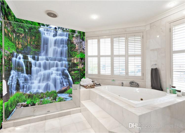 Gran 3D Cliff Water Falls bañera de ducha Art Wall Mural Calcomanías de suelo Diseño creativo para Home Decor Waterfall Wallpaper Rolls