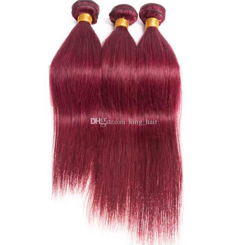 Cheveux Humains Droite Soyeux Rouge Brésilien 3Bundles Avec Frontale 13x4 Burgundy 99J Extensions de Cheveux Vierges Avec Fermeture Frontale Supérieure