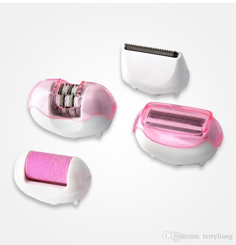 4 em 1 Mulheres depilador corpo ou biquíni Barbeador Elétrico Depilador de barbear elétrica lady face depilação removedor depilador aparador de ...