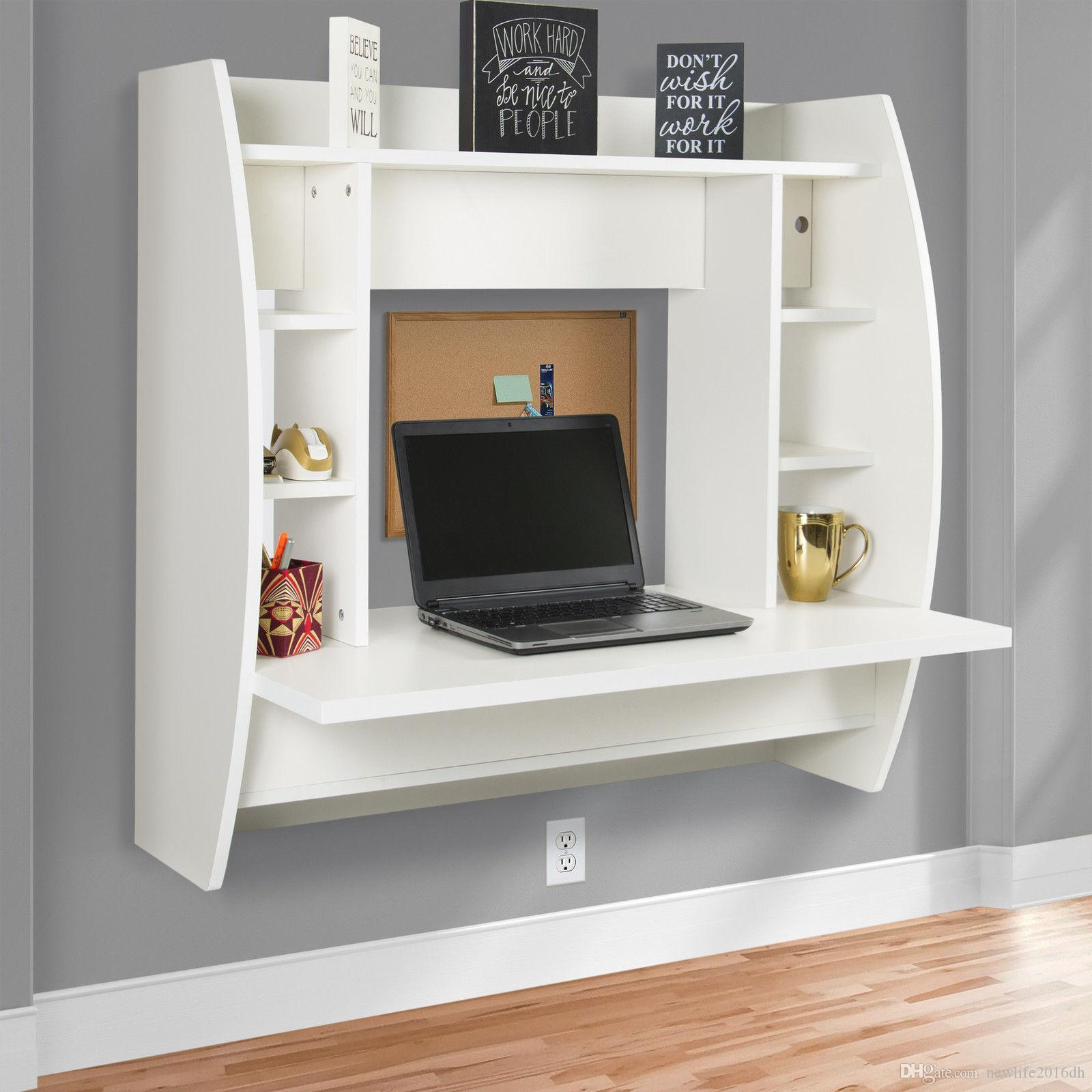 2018 Wall Mount Floating Computer Desk With Storage Shelves Home Work Station White From Newlife2017dh 104 53 Dhgate Com