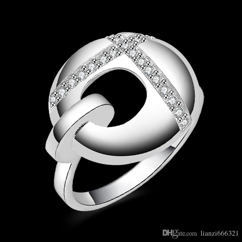 New 925 Sterling Silver fashion jewelry Noble ladies zircon ring hot sell girl gift 1488