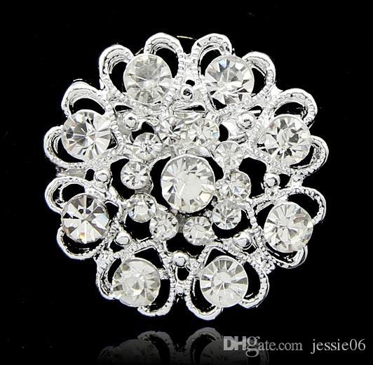 Luxury bling Crystal Rhinestone flower Pins Brooches new women heart shape silver plate diamond brooch Chirstmas party charm jewelry gift